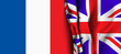Flag of United Kingdom over the France flag.