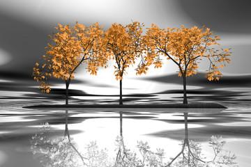 Panel Szklany Podświetlane Do salonu Trzy drzewa