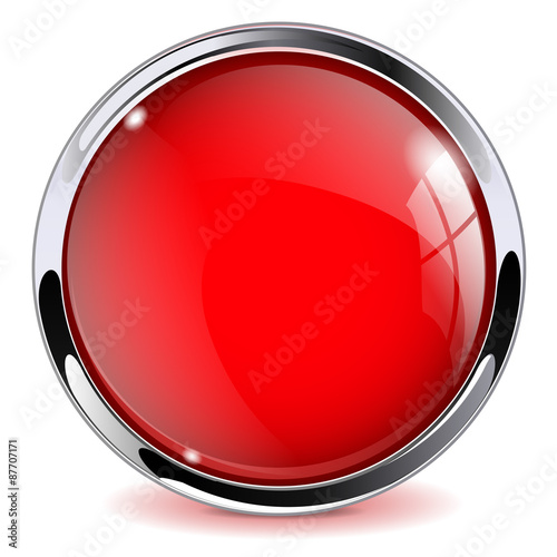Fotografía  Red shiny button.