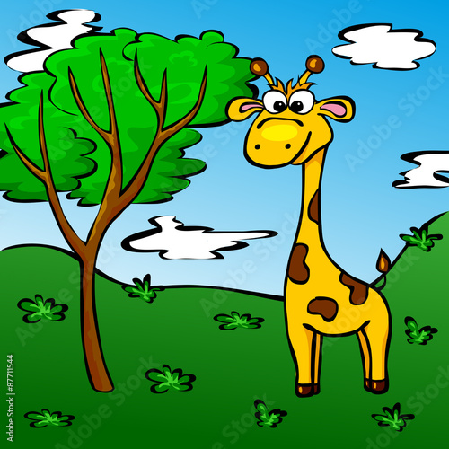 Funny cartoon giraffe in the forest