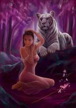 Лесная нимфа, девушка с тигром