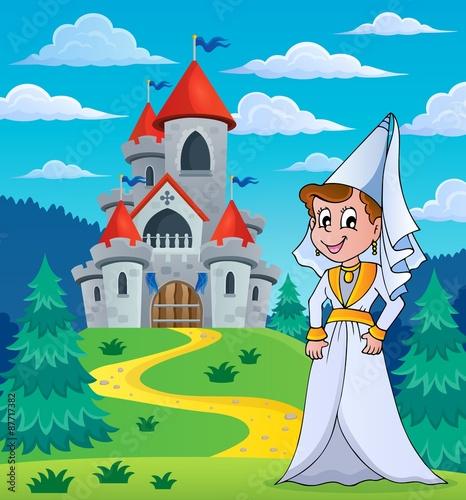 Foto op Aluminium Kasteel Medieval lady near fairy tale castle