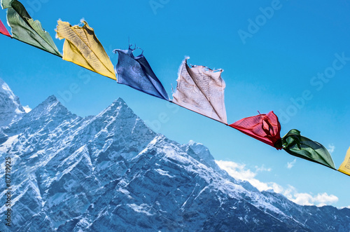 Wall Murals Nepal Buddhist prayer flags in the Himalaya mountains, in Nepal