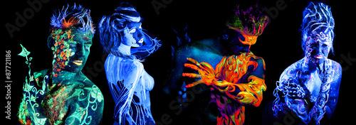 Fotografía  Four elements. Body art glowing in ultraviolet light