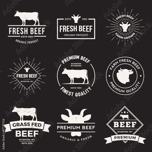 vector set of premium beef labels, badges and design elements Wall mural