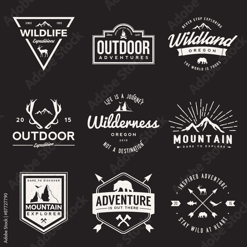 фотографія  vector set of wilderness and nature exploration vintage  logos, emblems, silhouettes and design elements