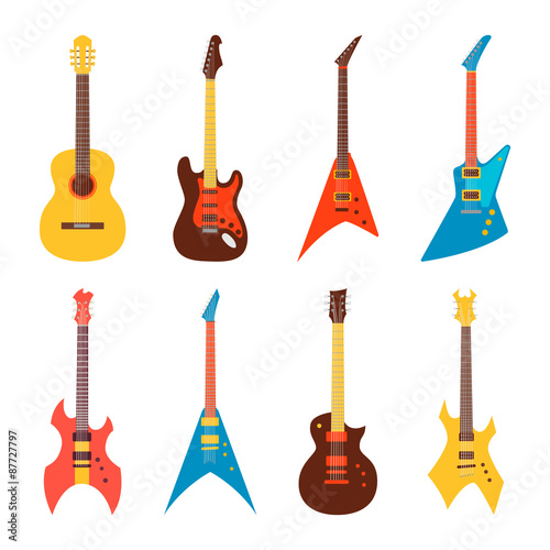 Obraz acoustic and electric guitars set. flat style vector illustration - fototapety do salonu