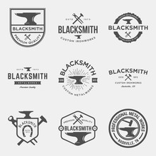 Vector Set Of Blacksmith Vintage Logos, Emblems And Design Elements