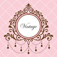 Chandelier Vintage Border Frame On Pink Background