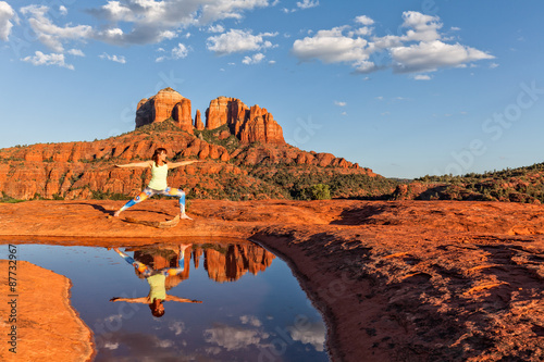 Canvas Prints Arizona Woman Practicing Yoga at Scenic Sedona Arizona