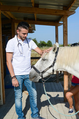 Fototapetahandsome young man veterinary taking care of a beautiful white and gray camargue horse