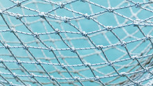 Yacht Safety Nets Of Sailing Yacht And Ocean Background.