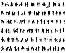 Black Silhouettes Of People Walking, Vector