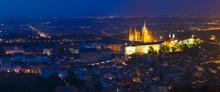 Night Panorama Of Prague, Czech Republic. Castle, St. Vitus Cath