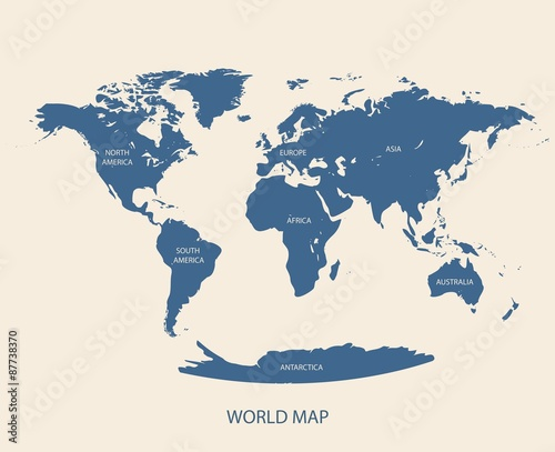 Foto op Canvas Wereldkaart WORLD MAP VECTOR ILLUSTRATION