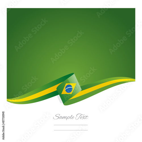 Fotografie, Obraz  New abstract Brazil flag ribbon