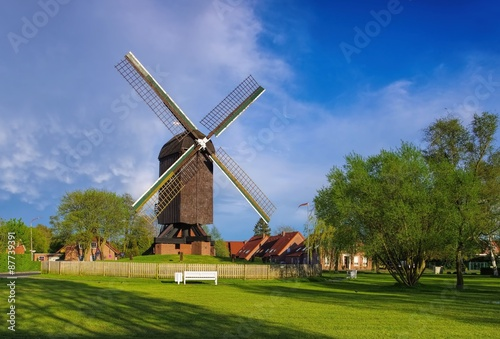 Photo sur Toile Moulins Papenburg Bockwindmuehle - post mill Papenburg 01