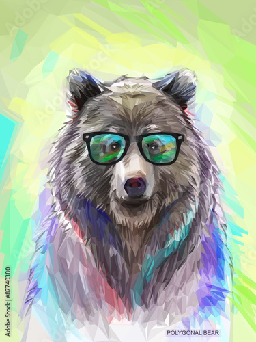 Recess Fitting Hand drawn Sketch of animals Colorful bear illustration. Bright poster