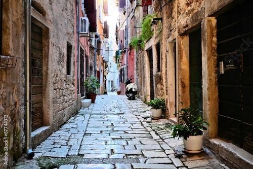 Rustic street in the old town of Rovijn, Croatia © Jenifoto