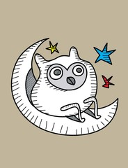 Owl Alone,art vector design