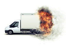 3D Flat Bed Van With Fiery Spe...