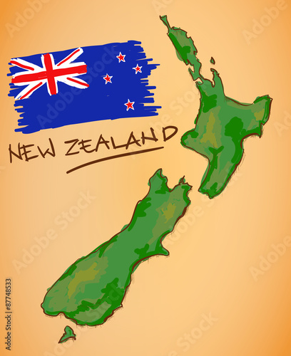 Cuadros en Lienzo New Zealand Map and National Flag Vector