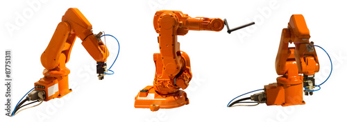Fotografie, Obraz  Robotic arm welder on white isolated background(clipping path).