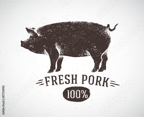 Graphic pig and labeled: Fresh pig Canvas