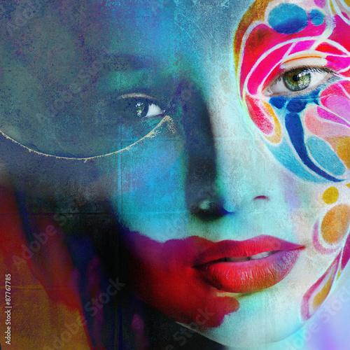 Foto op Plexiglas Beauty Close up portrait of woman color face