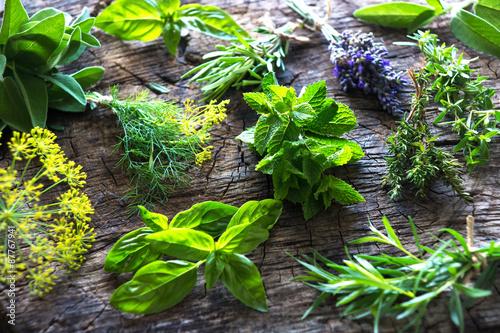 Fresh herbs on wooden background Wallpaper Mural