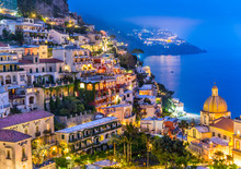 Sunset At Positano Village At Amalfi Coast, Italy.