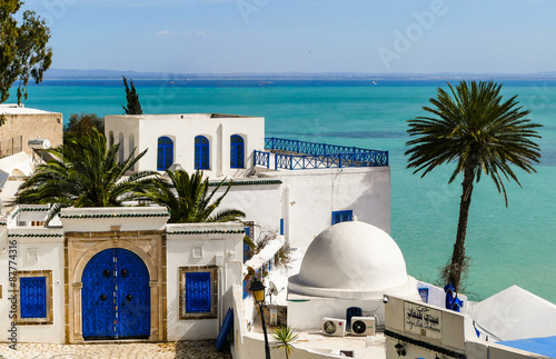 Photo sur Toile Tunisie Die blaue Stadt Sidi Bou Said