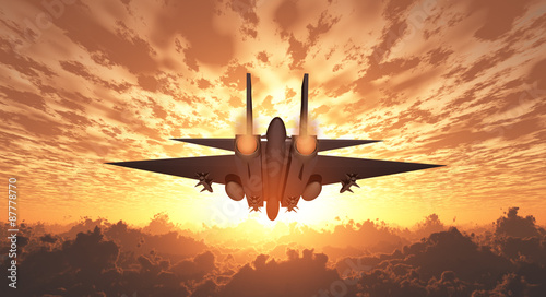 Leinwand Poster Military Jet  in Flight Sunrise or sunset