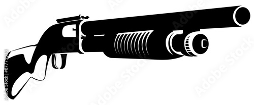 Illustration black and white with a shotgun isolated on white Fototapete