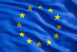 canvas print picture - Close up of the flag of European Union. EU Flag Drapery.