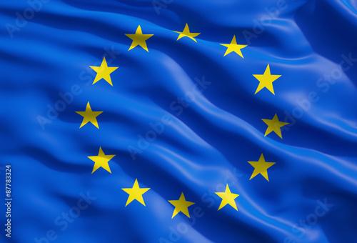 Canvas Print Close up of the flag of European Union. EU Flag Drapery.