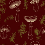 Seamless pattern set with a variety of vintage mushrooms and branches of rosemary, thyme, cumin. Retro hand drawn vector illustration in sketch style - 87784977