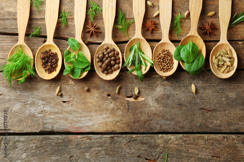 Türaufkleber Gewürze 2 Wooden spoons with fresh herbs and spices on wooden background