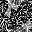 seamless background with leaves, Black and white endless pattern