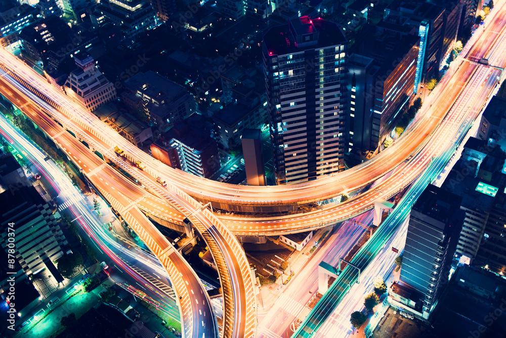 Photo  Aerial-view highway junction at night in Tokyo, Japan