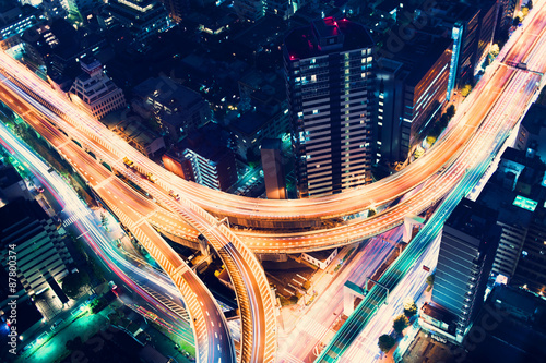Spoed Foto op Canvas Nacht snelweg Aerial-view highway junction at night in Tokyo, Japan