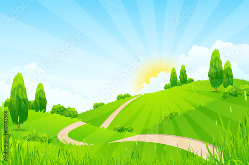 In de dag Lime groen Green Landscape with Trees and Road