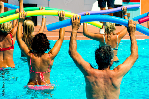 Fotografie, Obraz  people doing water aerobics in a pool