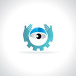 eyes care with hands vector illustration