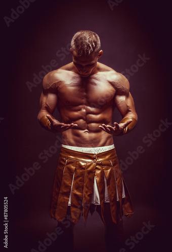 Foto  Rom-Krieger auf dem schwarzen Hintergrund