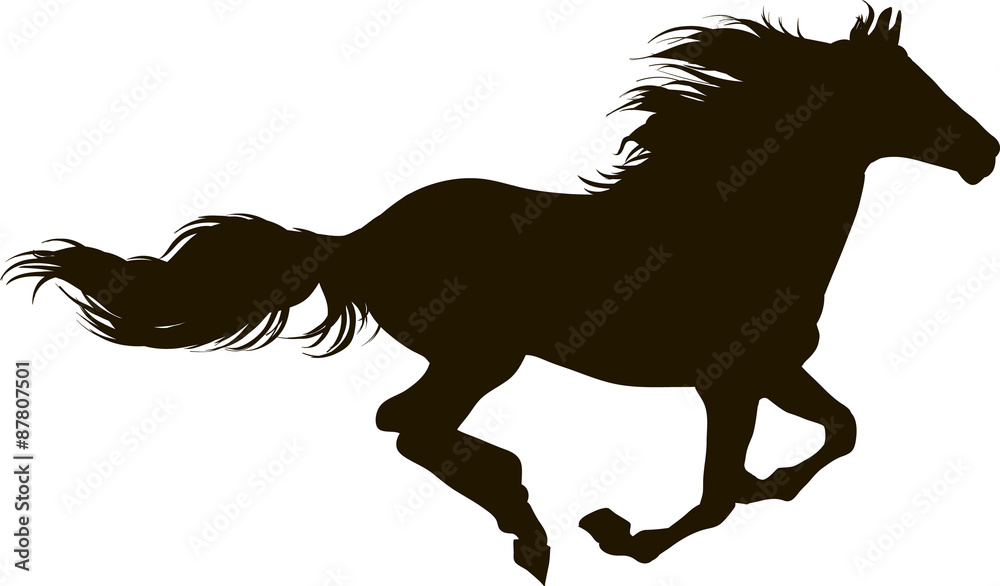 Fototapety, obrazy: Drawing the silhouette of running horse