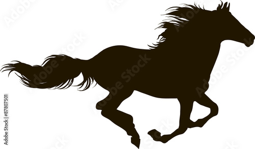 Photo  Drawing the silhouette of running horse
