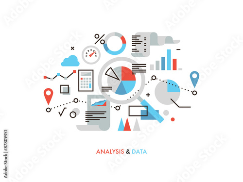 Data analysis flat line illustration Canvas Print