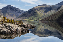 Stunning Landscape Of Wast Water And Lake District Peaks On Summ