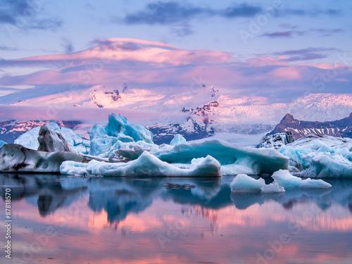 In de dag Gletsjers Jökulsárlón, Iceland.